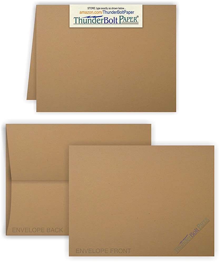 5X7 Folded Size with A-7 Envelopes -Brown Kraft Fiber - 25 Sets (7X10 Cards Scored to Fold in Half) Blank Pack -Invitations, Greeting, Thank Yous, Notes, Holidays, Weddings, Birthdays -80# Cardstock q97892155926
