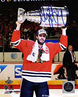 Niklas Hjalmarsson Signed Chicago Blackhawks 2015 Stanley Cup Trophy 8x10 Photo