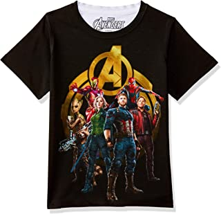 fd1cee76 Marvel Avengers Round Neck Black Polyester T-Shirt for Boys DMA0047