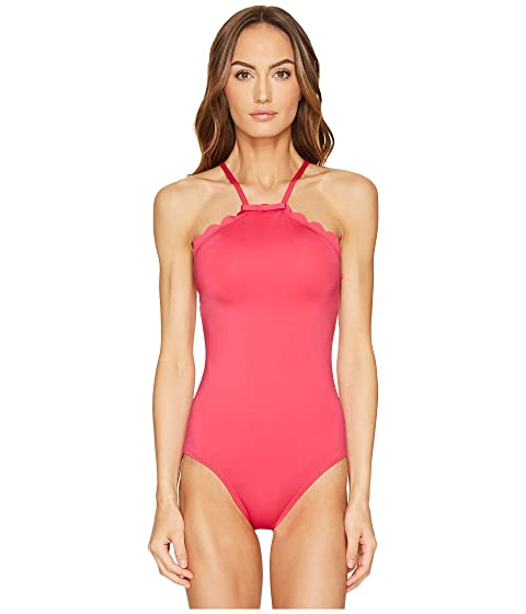 Kate Spade New York Core Solids #79 Scalloped High Neck One-Piece w/ Removable Soft Cups