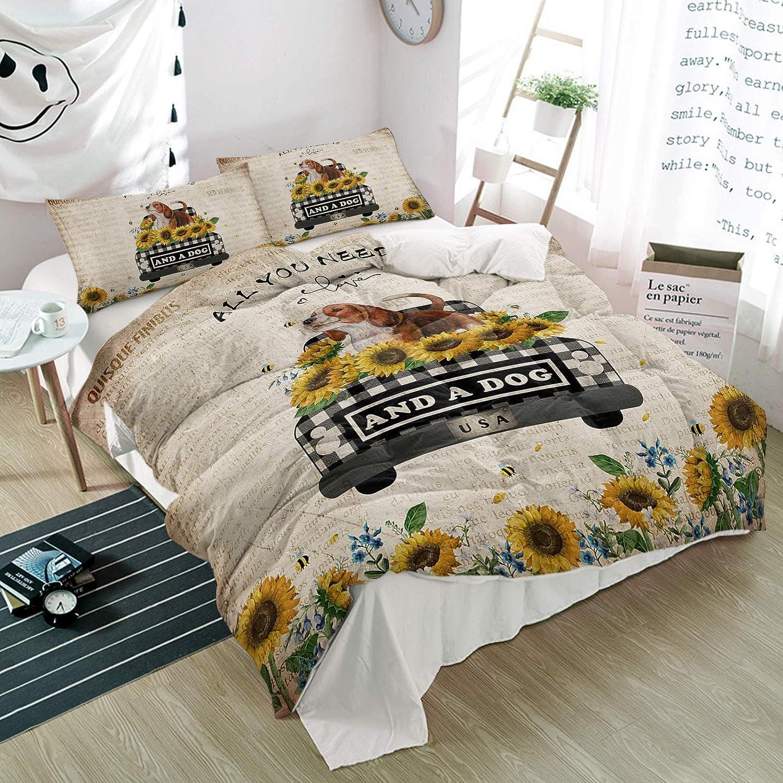 Queener Home Duvet Cover Sale Set Bee Dog Farm Bedding Ranking TOP16 3 Truck Piece