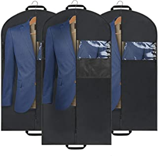 Mancro Gusseted Garment Bag, Suit and Dresses Garment Cover Bag with Mesh Zipper Pocket, Breathable Clear Window for Storage Travel, 3 Pack(54