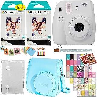 Fujifilm Instax Mini 9 Instant Camera (Smokey White), 2 x Twin Pack Instant Film (40 Sheets), Camera Case, Photo Album, Square Photo Frames & Accessory Bundle