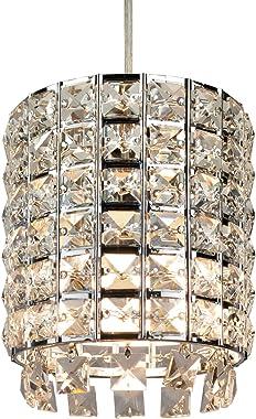 1 Light Hanging Light Fixture, Mini Crystal Pendant Kitchen Island Lighting Chrome Mini Pendant Ceiling Light Clear Crystal C