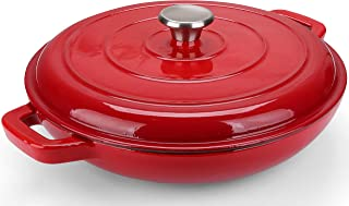 Puricon Enameled Cast Iron Casserole Braiser Pan 3.8 Quart, Ceramic Enamel Cookware Skillet with Lid and Dual Handles -Red