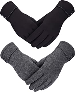 Sumind 2 Pairs Women Winter Gloves Warmer Plush Glove Lined Windproof Touchscreen Gloves for Women and Girls