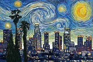 Los Angeles, California - Skyline - Van Gogh Starry Night (16x24 Giclee Gallery Print, Wall Decor Travel Poster)