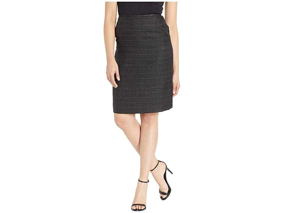 Tahari by ASL Tweed Skirt with Metallic Detail (Black/Silver) Women