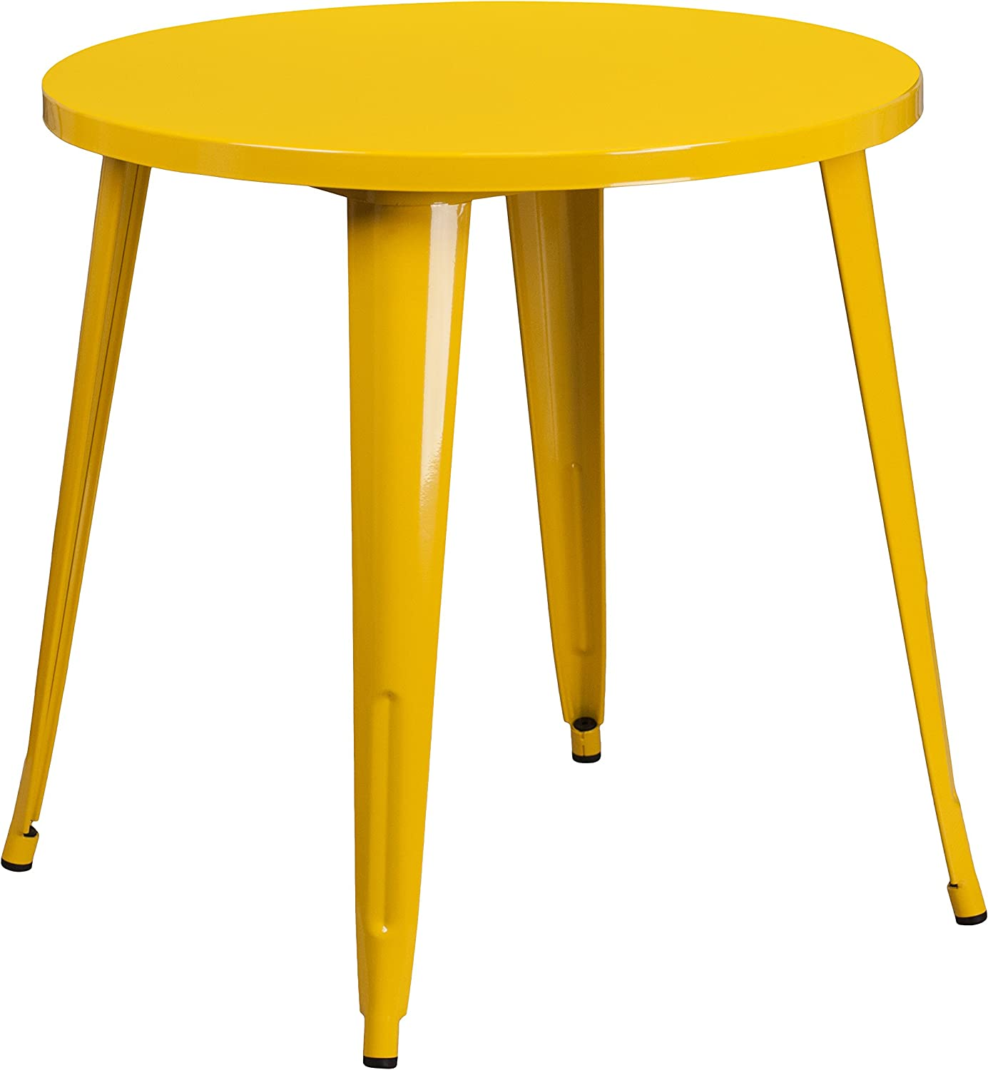 Flash Furniture CH-51090-29-YL-GG 30' Round Yellow Metal Indoor-Outdoor Table