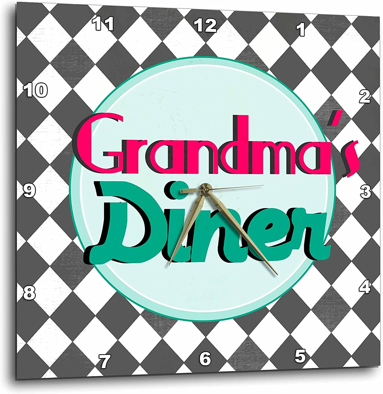 3dpink Grandmas Diner Sign on Black and White Diamonds Retro Hot Pink Aqua Teal 1950S 50S Fifties Kitchen - Wall Clock, 13 by 13-Inch (DPP_151652_2)
