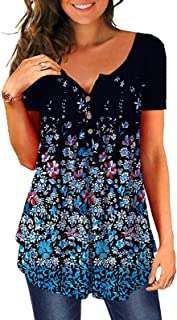 LADYSHOP تي شيرت نسائي بياقة على شكل V وأزرار لأعلى قميص علوي فضفاض غير رسمي علوي بطباعة زهور
