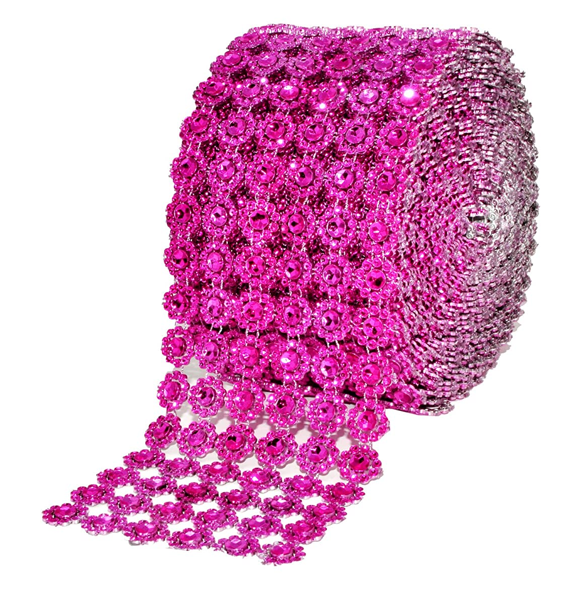 Mandala Crafts Faux Diamond Bling Wrap, Faux Rhinestone Crystal Mesh Ribbon Roll for Wedding, Party, Centerpiece, Cake, Vase Sparkling Decoration (Flower Pattern 4 Inches 10 Yards, Hot Pink)
