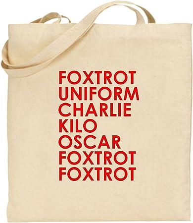 Foxtrot Uniform Charlie Large Cotton Tote Shopping Bag Funny Gift Xmas Rude Joke