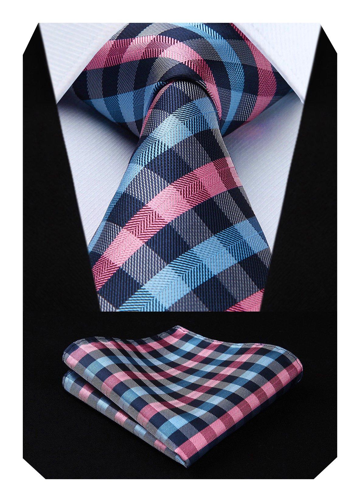BIYINI Mens Tie Check Plaid Necktie and Pocket Square Set for Wedding Party