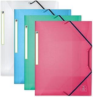 OXFORD 2nd Life Lot de 4 Chemises 3 Rabats Plastique avec Élastique Format A4 Couleurs Assorties Translucides