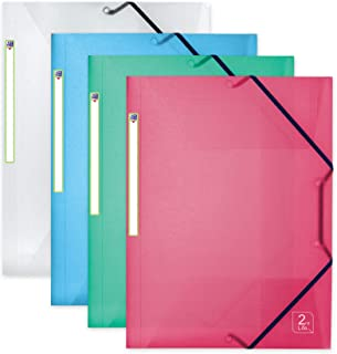 OXFORD 2nd Life Lot de 4 Chemises 3 Rabats Plastique avec Élastique Format A4 Couleurs Assorties Translucides