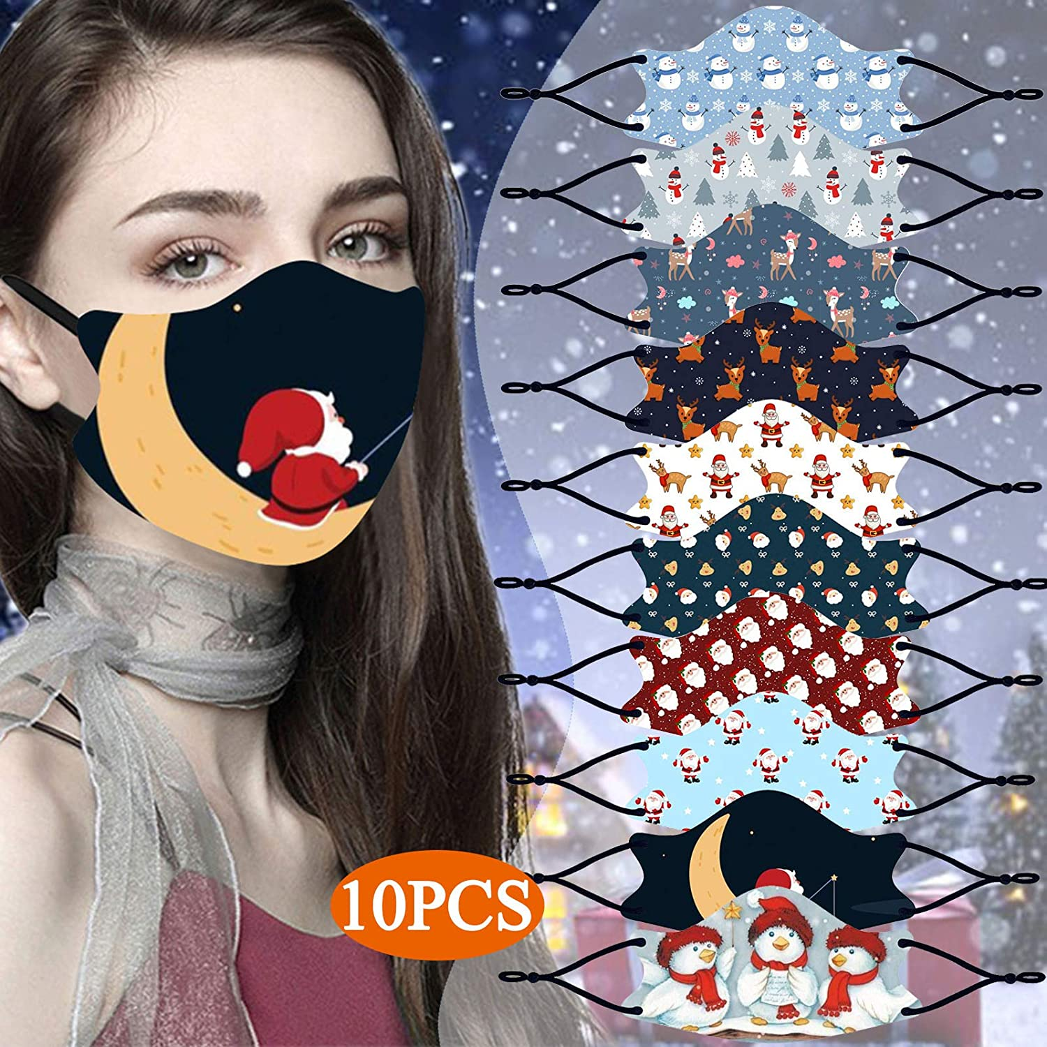 10PCS Washable Cloth Face_Mask Reusable and Adjustable Protective Fabric Face Cover w/Dust Filter Pocket - Tropical Floral