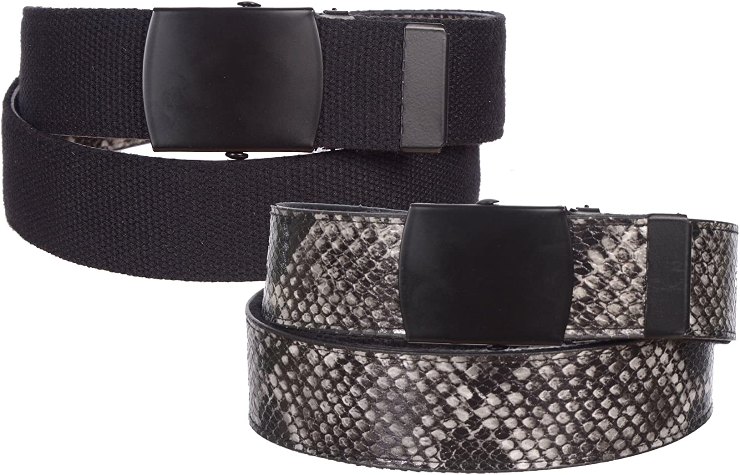 Sunny Belt Womens 1 1 2  Wide Python Canvas Reversible Belt With Military Buckle