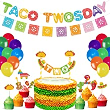 Taco Twodays Party Supplies Gold Glitter Banner Multicolored Papel Picado Banner Cake And Cupcake Toppers Latex Balloons for 2nd Birthday Cinco De Mayo Mexican Fiesta Party Supplies Decoration