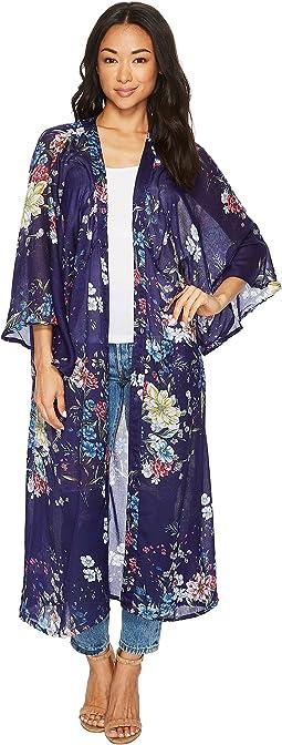 Linear Floral Duster Kimono
