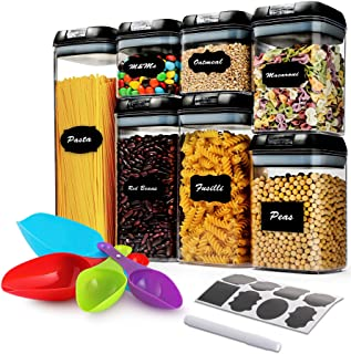 7 Pcs Airtight Food Storage Container Set - Kitchen & Pantry Organization Containers with Labels & Marker - BPA-Free,Clear...