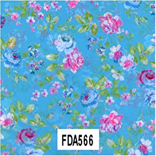 Decopatch Paper Ref 566 - Floral Turquoise/Pink/Green Single Sheet (381 x 305 mm)