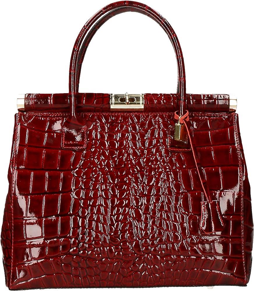 Chicca borse handbag borsa a mano/tracolla da donna in vera pelle lucida DDD8005-PARENT_CTM2