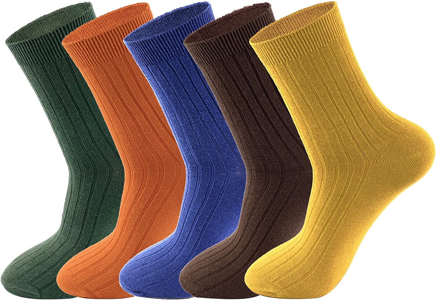 Lacholin 5 Pair Bright Solid Color Casual Crew Socks 10-13 for Men, Comfort & Breathable, Mens Fashion Cotton Dress Socks