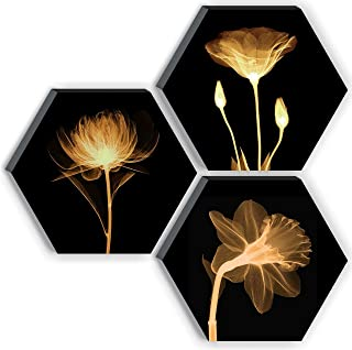 SAF Set of 3 Hexagon Preety Brown Flower UV Textured MDF Home Decorative Gift Item Painting 17 Inch X 17 Inch SANFHX15SMALL