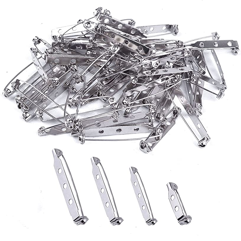 BronaGrand 120 Pieces Bar Pins Brooch Pin Backs Safety Clasp, 4 Sizes 20 mm, 25 mm, 32 mm and 38 mm (Silver)