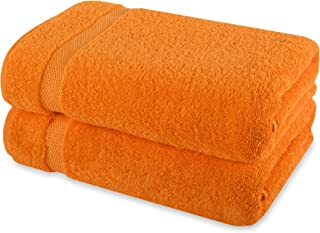 Payam Collection Premium Turkish Bath Towel Set of 2 (Orange)