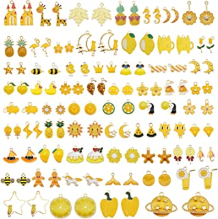 JJG 40pcs(20PAIRS) Assorted Gold Plated Enamel Animals Fruit Moon Star Dainty Dangle Flowers Pendants Charms for Jewelry M...