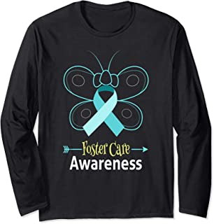 Butterfly Adoption Foster Care Ribbon Foster Care Awareness Long Sleeve T-Shirt