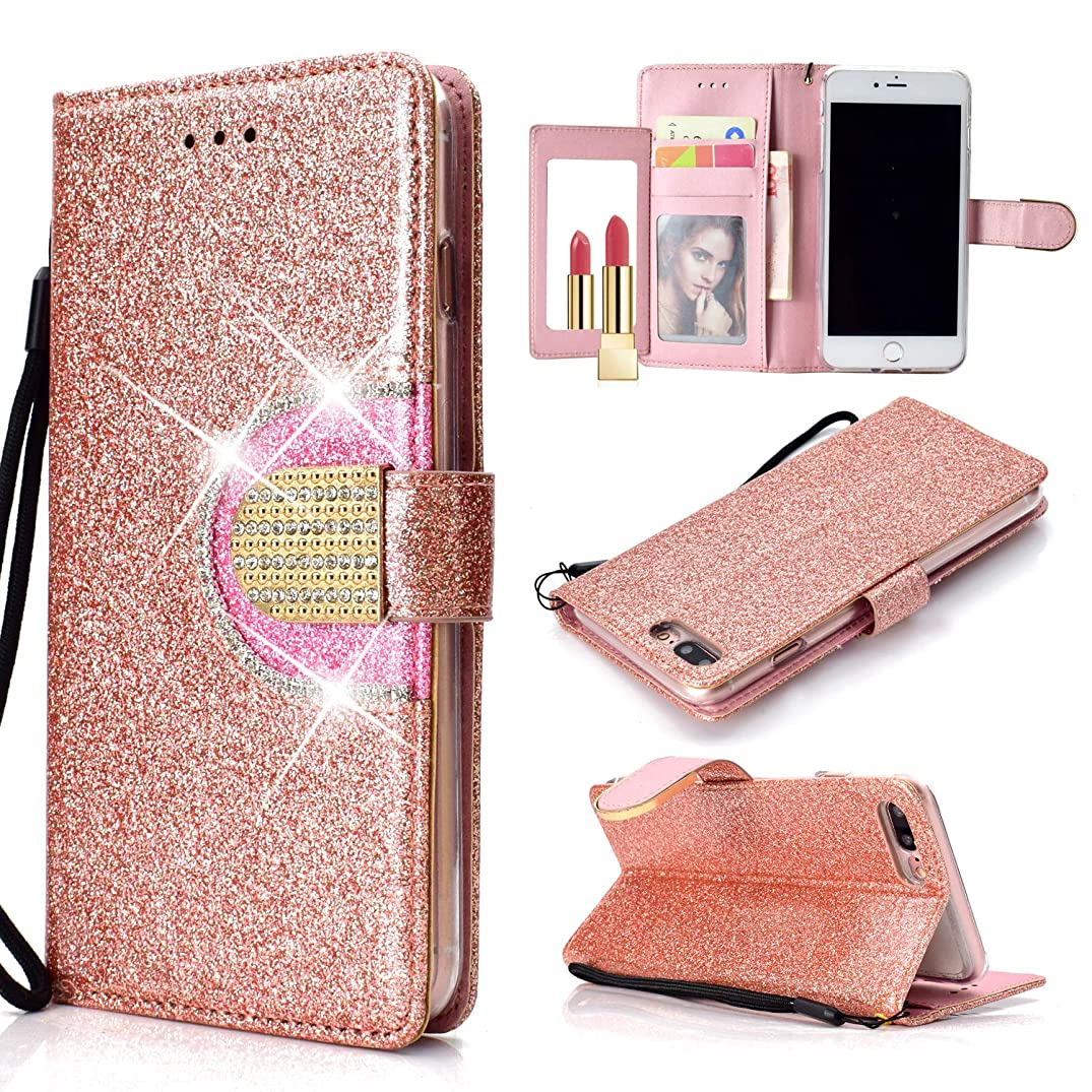 UEEBAI Wallet Flip Case for iPhone 7 Plus, Glitter PU Leather Cover with Mirror [Diamond Buckle] [Card Slots] [Magnetic Clasp] Stand Function Gems Soft TPU Case for iPhone 7 Plus/8 Plus - Rose Gold#2