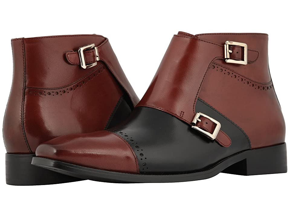 Stacy Adams Kason Cap Toe Double Monkstrap Boot (Burgundy/Black) Men