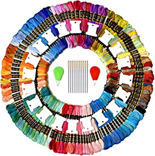 Premium Rainbow Color Embroidery Floss - Cross Stitch Threads - Friendship Bracelets Floss - Crafts Floss - 110 Skeins Per Pack and FREE set of 20 Organizer Floss Bobbins 10Needles&2 needle threaders