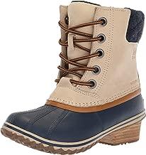Sorel Women's Slimpack Lace II Snow Boot, Oatmeal, Collegiate Navy, 5 M US