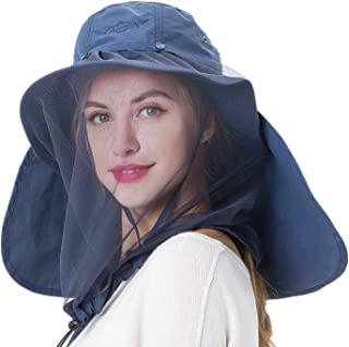 Palmyth Mosquito Head Net Hat Safari Hiking Fishing Hats Sun Protection Water Repellent Bucket Boonie Hats with Removable Neck Flap and Hidden Net UV UPF 50+ from Bug Insect for Men or Women Outdoor