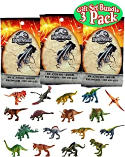 Jurassic World Mini Action Dino (Dinosaur) Figures Blind Bags Gift Set Bundle - 3 Pack (Assorted)