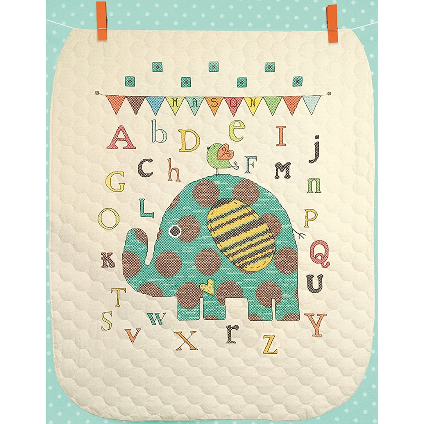 Dimensions Baby Elephant ABC Quilt Stamped Cross Stitch Kit, 34 by 43-Inch