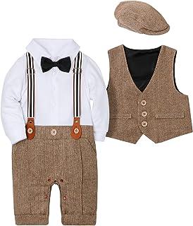 WESIDOM Baby Boy Suit Outfits Set 3pcs,Infant Tuxedo Long Sleeve Gentleman Wedding Jumpsuit & Vest Coat & Berets Hat