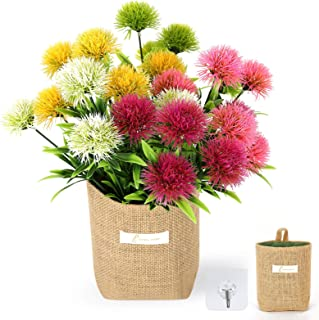 GBESTWOOW Artificial Flowers Outdoor Fake Dandelion 5 Bouquets Spring Decoration Plants Plastic Flower for Indoor Home Dec...