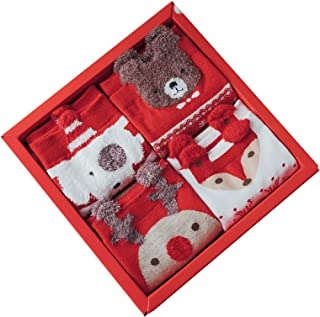 HTTOAR, Calcetines Navideños para Mujer, Calcetines Dibujos 4 pares de Bonitos Calcetines de Algodón para Damas