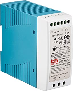 DIN-rail voeding 60W 12V 5A; MeanWell, MDR-60-12; DIN-rail voeding