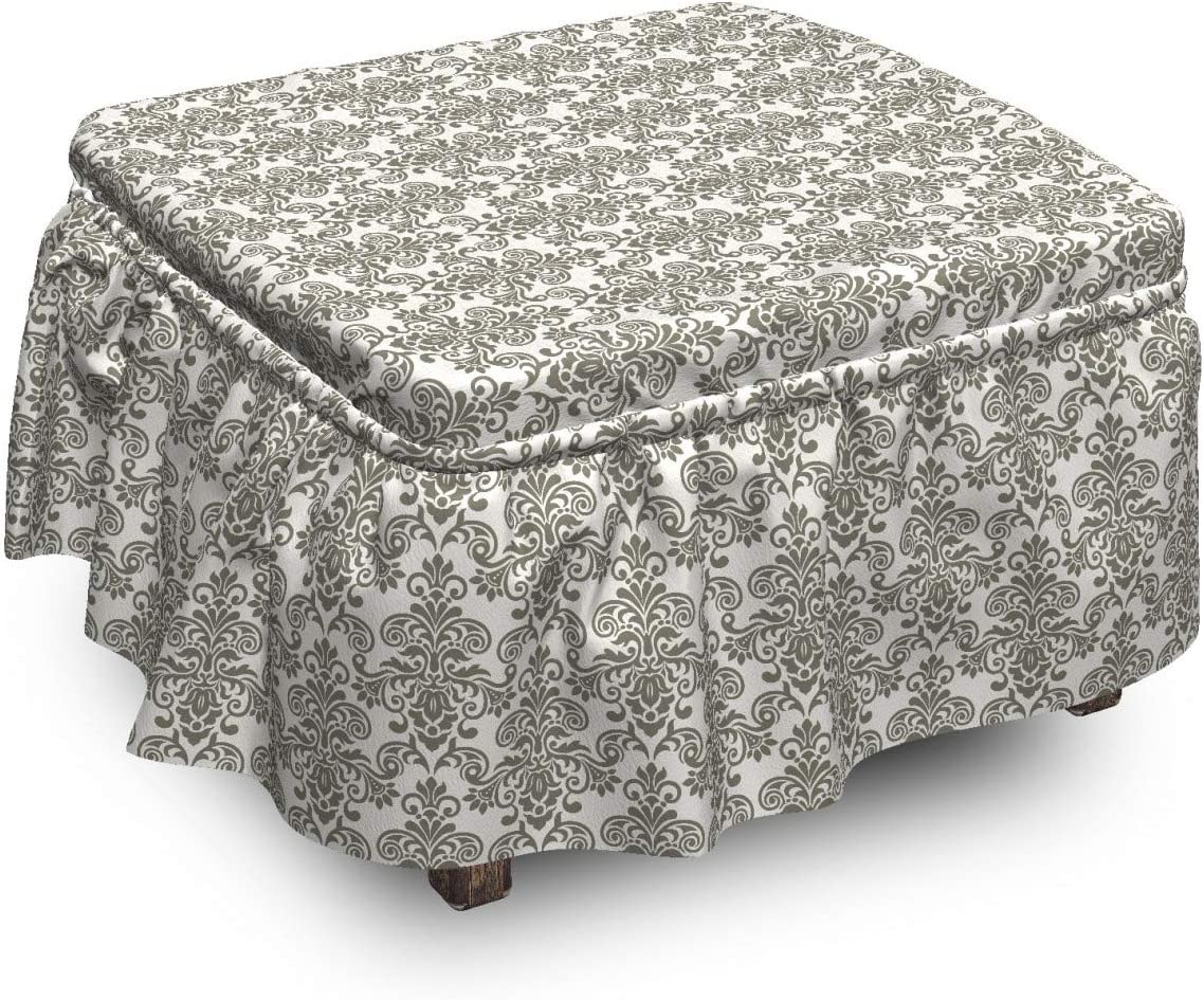 New product type Lunarable Damask Grey Ottoman Cover Curl Floral Limited time cheap sale and Details 2