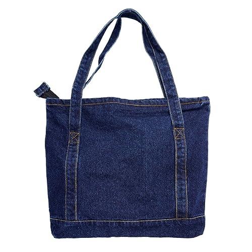 Yunzh Canvas Bag Denim Tote Shoulder Handbag Shopping School Travel Large  Pockets f9ce9eadaff44
