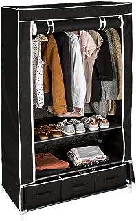 TecTake Armoire de Rangement en Tissu Textile Pliable avec 3 tiroirs et Tringle à vêtements - diverses Couleurs au Choix -...