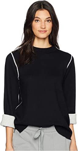 Luxe Botton Blend Reversible Bell Sleeve Mock Neck Pullover