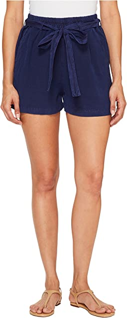 Lucky Brand - Tie Front Linen Shorts in American Navy