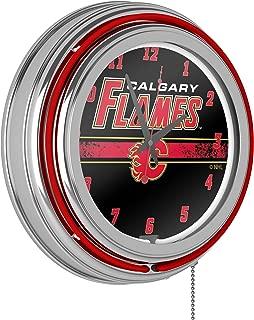 Trademark Global NHL Chrome Double Rung Neon Clock - Calgary Flames